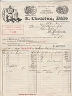 Suisse Facture Illustrée 1/12/1911 E CHRISTEN Comestibles, Pêcherie De Saumon, Conserves BÂLE - Switzerland