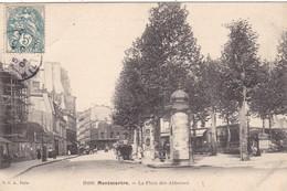 75. PARIS. CPA . MONTMARTRE. LA PLACE DES ABBESSES . ANNÉE 1904. COLONNE PUBLICITAIRE MORRIS - Paris (18)