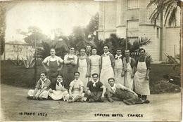 """2963 """" CARLTON HOTEL CANNES - FOTO DI GRUPPO DEL PERSONALE - 10 MARZO 1925 """" FOTO ORIGINALE - Persone Identificate"""