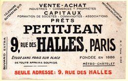 Buvard Petitjean, Vente, Achats, Capitaux Et Prêts, Rue Des Halles à Paris. - Blotters