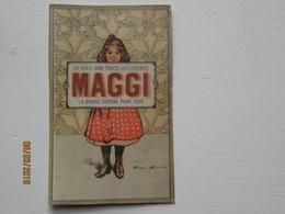 LE/AJ -  Chromo Maggi : Jeune Fille Tenant Une Plaque Publicitaire Maggi -1890-1900 - Cromos