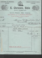 Suisse Facture Illustrée 30/11/1911 E CHRISTEN Comestibles, Pêcherie De Saumons, Conserves BÂLE - Suisse