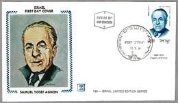 Escritor SANUEL YOSEF AGNON - Writer. Judaismo - Judaica. SPD/FDC Jerusalem 1981 - Escritores