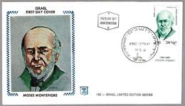 First Knighted English Jew MOSES MONTEFIORE. Judaismo - Judaica. SPD/FDC Jerusalem 1891 - Celebridades