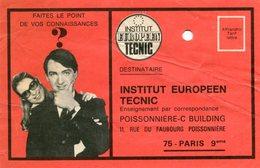 PARIS IX 9 - Carte Publicité Institut Européen TECNIC 11 Rue Du Faubourg Poissonnière - Distretto: 09