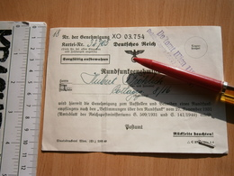 WWII 1943 RUNDFUNKEMPFÄNGERS Radioreceiver RECEIVER WIEN AUSTRIA OSTERREICH CARD ARMY GERMANY DEUTSCHES REICH DOCUMENT - 1939-45