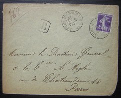 Saumur Maine Et Loire 1909, Lettre Recommandée 768 - Postmark Collection (Covers)