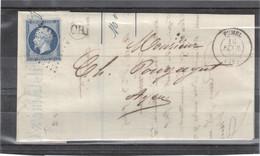CP056 - Yvert 14 Sur Lettre De RATIER ( OR ) Cachet à Date De FUMEL Du 10.2.1852 Pour AGEN - - 1853-1860 Napoléon III