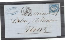 CP056 - Yvert 14 Sur Lettre De CIVRAY - PC 871 Du 28 AOUT 1862 Pour NIORT - - 1853-1860 Napoléon III