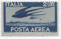 P.Aerea Democratica L.2 Azzurro ** MNH Carta Grigia R1CD - Varietà Dentellatura Spostata Sulla Vignetta - 6. 1946-.. Repubblica