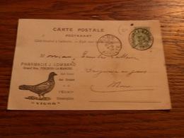 Entier Postal Pharmacie J Lombard Forchies La Marche 1906 Pigeon Elixir Colombophile Vigor - Bélgica