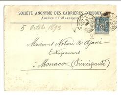 """2975 """" SOCIETE' ANONYME DES CARRIERES D'INJOUX-MARSEILLE-LETTERA PER AZIENDA DEL PRINCIPATO DI MONACO-1893 """"  ORIGINALE - Francia"""