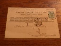 Entier Postal  Jacques Lecomte Falleur Jumet Fabricant Verrerie 1902 - Belgique