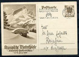 """German Empires,DR 1936 GS Mi.Nr.P257""""Olympische Winterspiele,Garmisch """"mit MWST""""Mannheim """"1 GS Used - Winter 1936: Garmisch-Partenkirchen"""