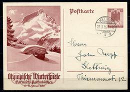 """German Empires,DR 1936 GS Mi.Nr.P258 """"Olympische Winterspiele,Garmisch """"mit TST""""Kettwig """"1 GS Used - Winter 1936: Garmisch-Partenkirchen"""