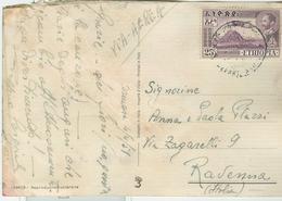 ETHIOPIA 25c,AFFRANCATURA CARTOLINA VIA AEREA,1959 ,ASMARA PER ITALIA ,RAVENNA - Etiopia