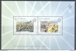 SAN MARINO, 2016, MNH, JOINT ISSUE WITH MALTA, CASTLES,  S/SHEET - Emissions Communes