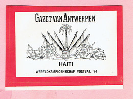 Sticker - Wereldkampioenschap Voetbal 1974 - G.V.A. - HAITI - Autocollants