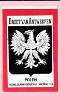 Sticker - Wereldkampioenschap Voetbal 1974 - G.V.A. - POLEN - Autocollants