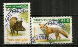 Faune D'Andorre: Le Renard Roux & Le Sanglier,  2 Timbres Oblitérés,1 ère Qualité, Oblitération Ronde. - Used Stamps