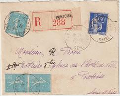 ESC 2F15 Paix/Semeuse Recommandée Cad Pontoise Seine Et Oise 1938 Pour La Même Localité - 1921-1960: Période Moderne