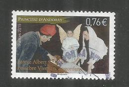 NOËL ANDORRAN 2015 (Crèche Vivante D'Engordany)  Un Timbre Oblitéré 1 ère Qualité, Cachet Rond. - Used Stamps
