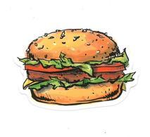 Adesivo Calcomania Sticker Hamburger Panino Dimensioni Cm 7x5 Circa Forma Segue Silhouette Figura - Adesivi