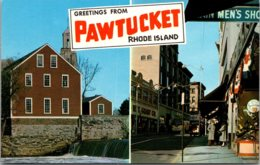 Rhode Island Greetings From Pawtucket Showing Main Street And Old Slater Mill - Pawtucket
