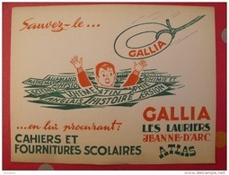 Buvard Gallia, Les Lauriers, Jeanne D'arc, Atlas. Cahiers Et Fournitures Scolaires. Vers 1950. Illustration - Buvards, Protège-cahiers Illustrés