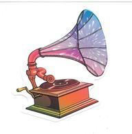 Adesivo Calcomania Sticker Grammofono Musica Dimensioni Cm 8x6 Circa Forma Segue Silhouette Figura - Adesivi