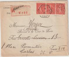 ESC Ordre Des Avocats De Paris Recommandée 1F50 Semeuse RAU Paris 32 -> Paris Réexpédiée à Tarbes 1926 - Marcophilie (Lettres)