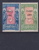 1942 St Pierre & Miquelon SPM - 2 Scans France Libre Surchargés FNFL 2. Val. Euro 90 YT 286/287 Sc #217/218 MLH - Nuovi