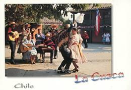 Lote PEP1307, Chile, Postal, Postcard, La Cueca, Chilean Folklore Dance, Baile, Woman, Guitar, Flag - Chile