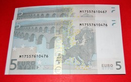 2x 5 EURO PORTUGAL U007 F1 - Trichet - PAREJA RADAR - M17557610467/76 - UNC - NEUF - FDS - EURO