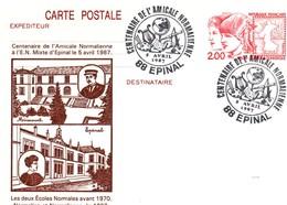 Epinal 1987 - BT Amicale Normalienne - Ecole Normale - Lyre Mappemonde Palette Peinture - Carte Entier - Marcophilie (Lettres)