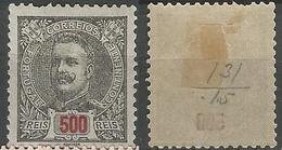 PORTUGAL D. Carlos -500r-1895- Porcelana- Afinsa 139- MH- Short Perf - Nuevos