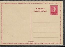 E581 -CZECHOSLOVAKIA-POSTCARD-1937- STAMP-MASARYK -1.20  - MNH** - Interi Postali