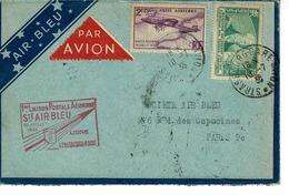 AVIATION , AIR BLEU 1 ERE LIAISON POSTALE AERIENNE STRASBOURG PARIS JUILLET1935 - France