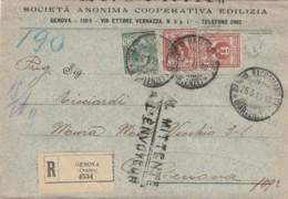 RACCOMANDATA 1914 2X2+5 CENT.  AL MITTENTE- TIMBRO GENOVA-SOCIETA' ANONIMA COOPERATIVA (LV192 - 1900-44 Vittorio Emanuele III
