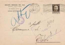 CARTOLINA POSTALE 1938 CENT.30 TIMBRO ROMA OSTIENSE -SOCIETA' ROMANA GAS (LV275 - Marcophilie