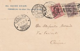 CARTOLINA POSTALE 1928 10+20 C. TIMBRO CASCINA - SALSOMAGGIORE CECINA (LV295 - Marcophilie