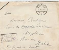 RACCOMANDATA 1934 ROMANIA 2X10 LEI TIMBRI FALTICENI-POSTUMIA TRIESTE NIGOLINE (LV406 - 1918-1948 Ferdinand, Carol II. & Mihai I.
