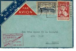AVIATION , AIR BLEU 1 ERE LIAISON POSTALE AERIENNE PARIS LE HAVRE JUILLET1935 - France