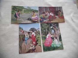 LOT DE 4 CARTES ...FEMMES DE COREE ..EN COSTUMES TRADITIONNELS ... - Costumes