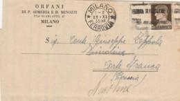 LETTERA 1933 C.10 ORFANI SEMERIA MINOZZI (LV464 - 1900-44 Vittorio Emanuele III