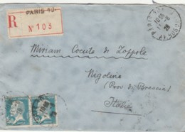 RACCOMANDATA 1928 2X1,5 FRANCIA TIMBRI PARIS NIGOLINE BRESCIA (LV472 - France