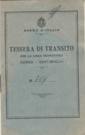 TESSERA TRANSITO LINEA AFERROVIARIA CUNEO VENTIMIGLIA 1941 (LV497 - Europa