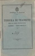 TESSERA TRANSITO LINEA AFERROVIARIA CUNEO VENTIMIGLIA 1941 (LV497 - Week-en Maandabonnementen