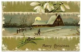 MERRY CHRISTMAS : WINTER SCENE - COTTAGE, MOON, SNOWDROPS (EMBOSSED) - Christmas
