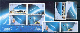 Hong-Kong, Halley's Comet, 1986, 4 Stamps + Block - Space